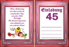 Einladungskarten Geburtstag 45 Jahre Kostenlos