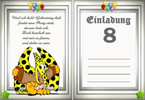 Einladungskarten Geburtstag 8 Jahre Kostenlos