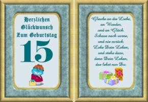 Druck Geschenk Urkunde Zum 15 Geburtstag Personliche